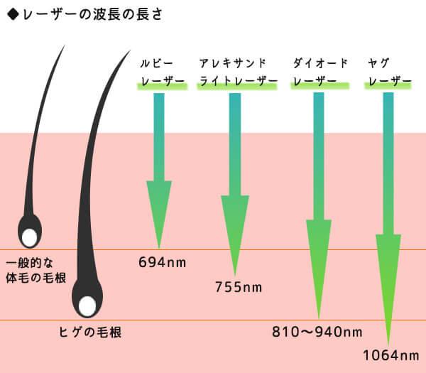 レーザー種類別の波長の長さ