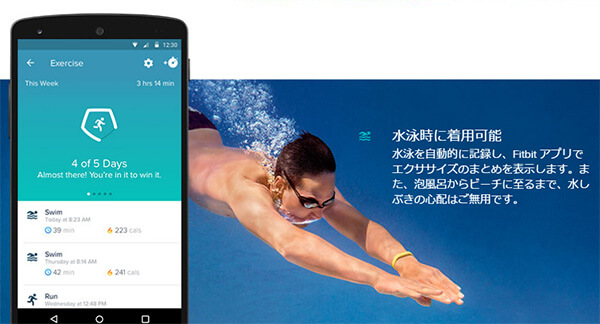 fitbit「flex2」防水イメージ