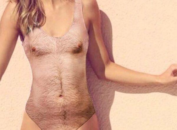 体毛柄の水着画像