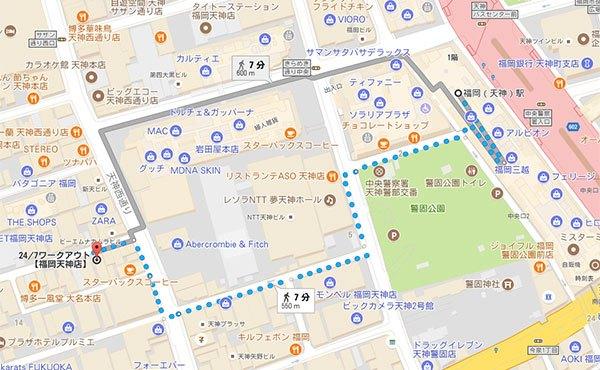 天神駅から24/7ワークアウト福岡天神店までの地図