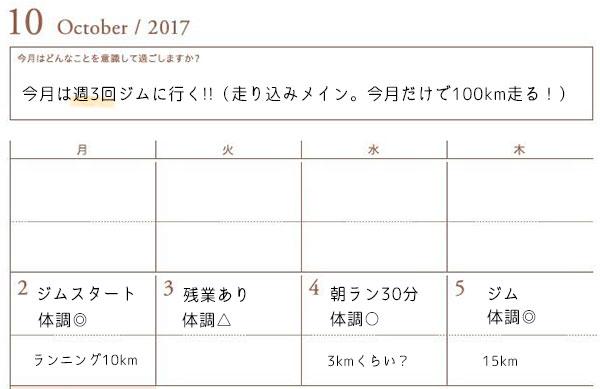 逆算手帳のカレンダーページ活用例