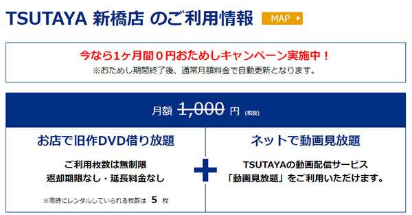 TSUTAYA新橋店でのTSUTAYAプレミアム月額料金と同時レンタル可能本数
