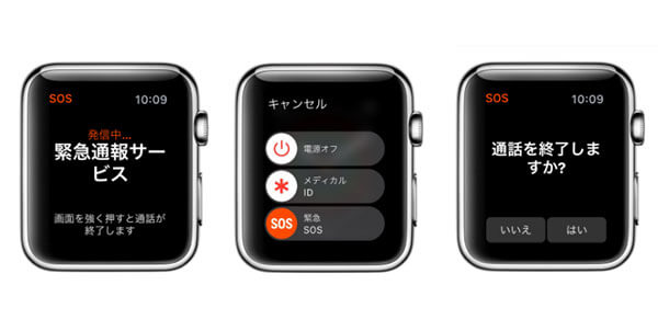 AppleWatchの緊急電話の利用画面