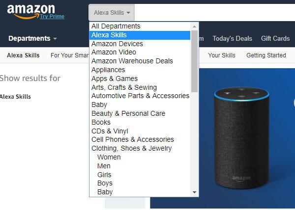 アマゾンの検索窓からアレクサスキルを選ぶ